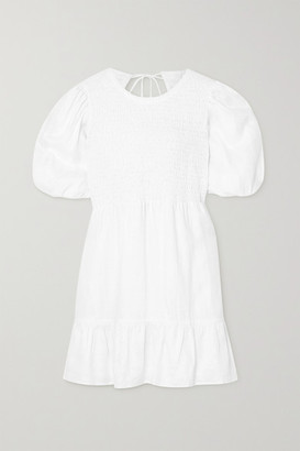 Faithfull The Brand + Net Sustain Lorica Open-back Shirred Linen Mini Dress - White