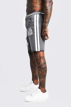 BoohoomanBoohooMAN Mens Grey Relaxed Fit Denim Short With Painted Side Stripe, Grey