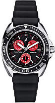 Nautica Men's Stainless Steel Black Silicone Strap Watch