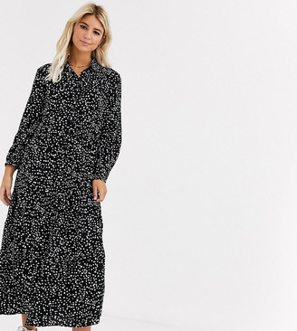 New Look maxi shirt dress in mono spot-Black