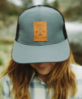 Slate Dolly Varden Leather Logo Trucker Hat One Size