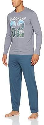 Athena Men's Brooklin Maternity Nightie, (Haut Gris Bas Bleu Jean), X-Large