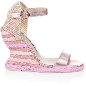 Sophia Webster Carlita Metallic Leather Espadrille Wedge Sandals