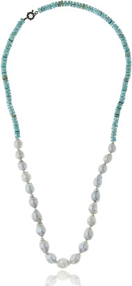 MCL by Matthew Campbell Laurenza Half Turquoise & Baroque Pearl Necklace