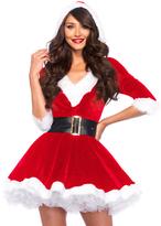 Leg Avenue Red & White Velvet Hooded Dress & Belt Set