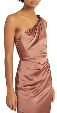 Reiss Adaline One-Shoulder Draped Satin Dress