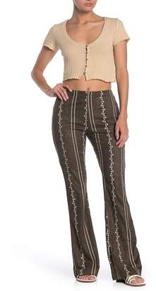 Wild Honey Embroidered Pull-On Faux Suede Flared Pants