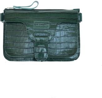Kartu Studio Natural Leather Mini Cross Body Marigold- Dark Green Reptile With Extra Wide Belt