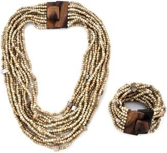 Shop Lc Beige Multi Strand Seed Bead Wooden Buckle Necklace Bracelet Set - Size 18''