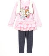 Children's Apparel Network Frozen Elsa & Anna Pink Ruffle Top & Leggings - Girls