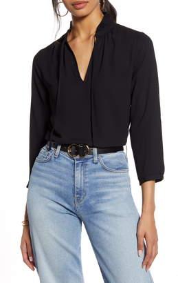 Halogen Pleat Collar Split Neck Top