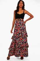 boohoo Bali Palm Print Ruffle Detail Woven Maxi Skirt