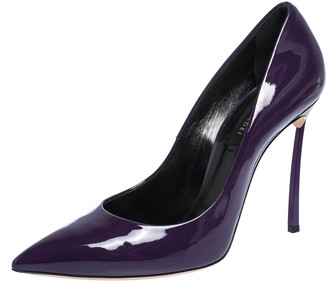 Casadei Purple Patent Leather Pointed Toe Pumps Size 40.5