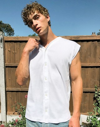 ASOS DESIGN ribbed button up sleeveless t-shirt in white