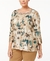 Alfred Dunner Plus Size Emerald Isle Collection Floral-Print Lattice-Neck Top