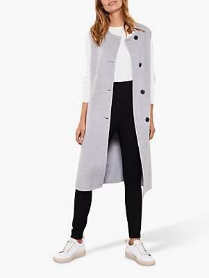 Mint Velvet Split Seam Long Waistcoat, Grey