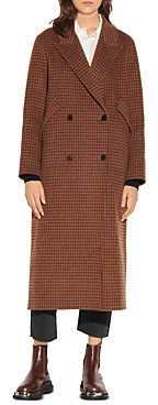 Sandro Merry Plaid Oversized Coat