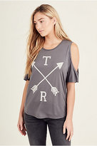 True Religion Arrow Womens Cold Shoulder Tee