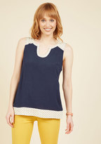 Notch so Fast! Sleeveless Top in Navy Dots in XS