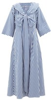 Thierry Colson Violetta Bow Striped Cotton-poplin Midi Dress - Womens - Blue Stripe