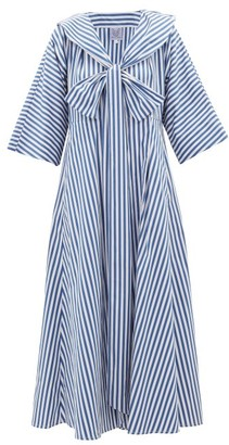 Thierry Colson Violetta Bow Striped Cotton-poplin Midi Dress - Blue Stripe