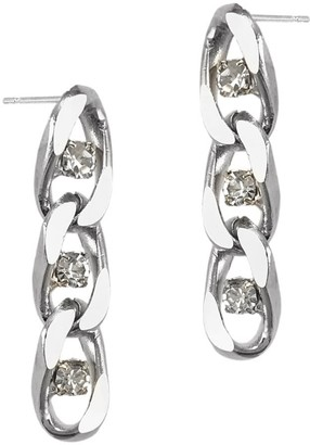 Biko Twin Flame Chain Studs Short Silver