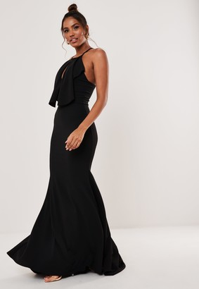 Missguided Black Halter Keyhole Fishtail Maxi Dress