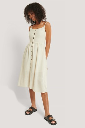 Trendyol Buttoned Midi Linen Dress