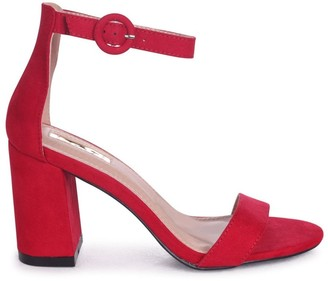 Linzi Sesame Red Suede Barely There Block Heeled Sandals