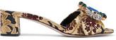 Miu Miu Embellished Brocade Mules - Gold