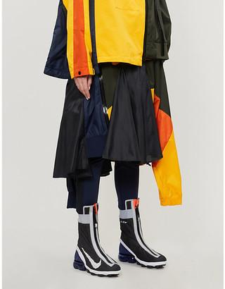 Nike X Sacai Colour-block high-waist shell midi skirt