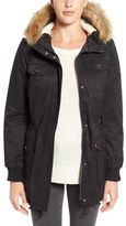 Levi's Water Resistant Parka with Faux Fur Trim Hood