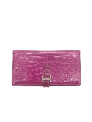 Hermes Bearn Purple Crocodile Wallets