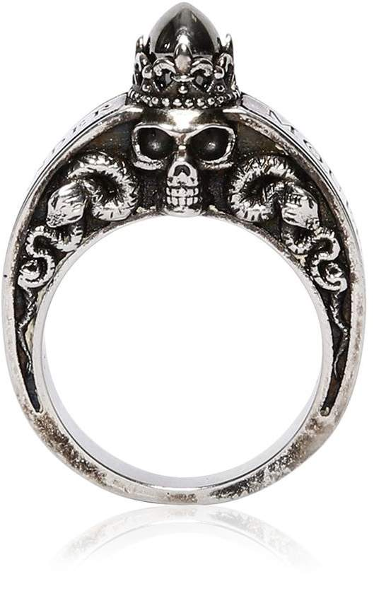 Alexander McQueen Skulls & Snakes Engraved Ring