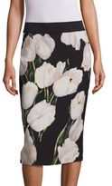 Dolce & Gabbana Tulip Print Wool Pencil Skirt