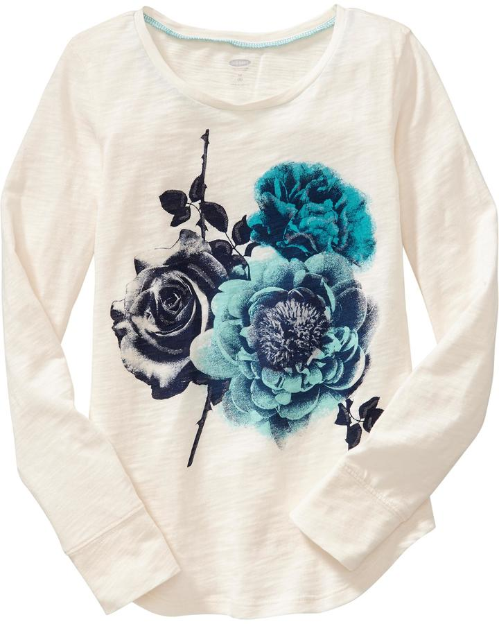 Old Navy Girls Floral Graphic Slub-Knit Tees