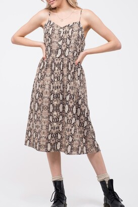 Blu Pepper Snake Print Midi Dress