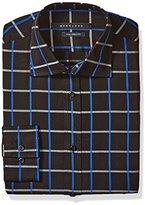 Sean John Men's Regular Fit Check Spread Collar Dress Shirt