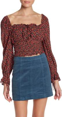 Wild Honey Square Neck Smocked Bodice Floral Shirt