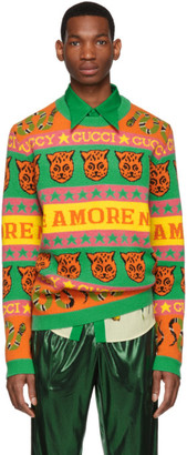 Gucci Orange and Green Wool Jacquard Symbols Sweater