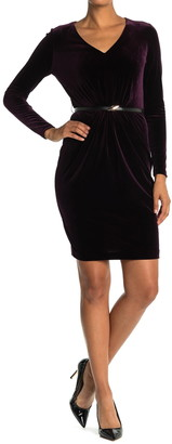 Calvin Klein V-Neck Velvet Belted Dress