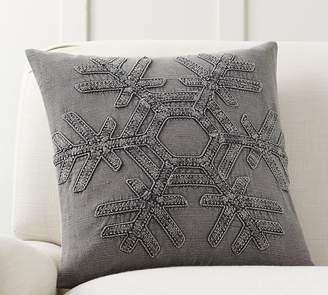 Pottery Barn Drew Snowflake Embroidered Pillow Cover
