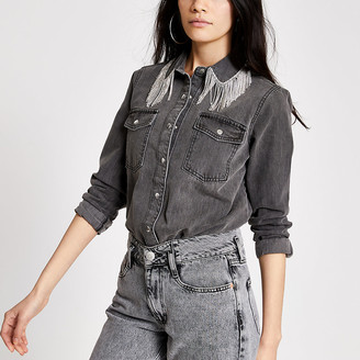 River Island Grey diamante fringe denim shirt