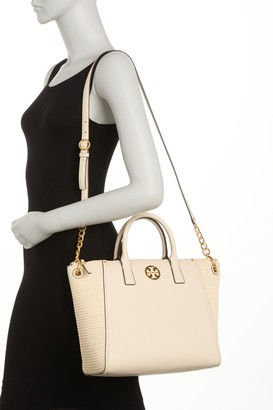 Tory Burch Everly Straw & Leather Satchel Bag