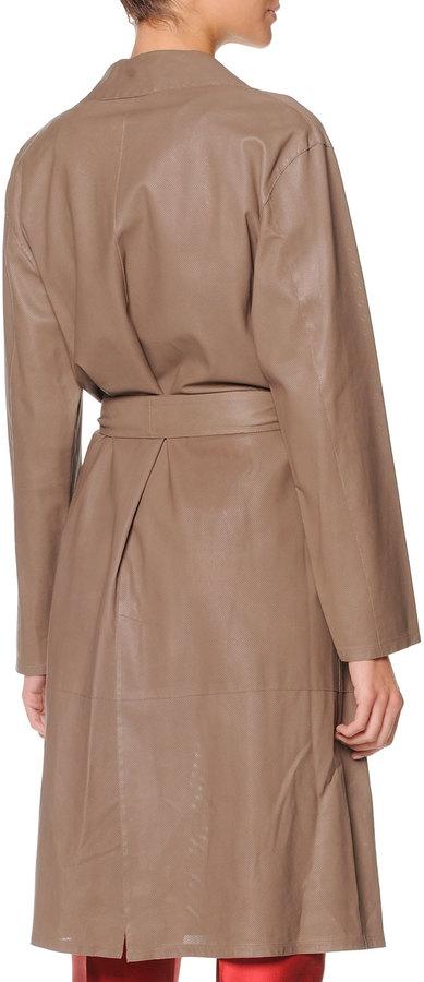Giorgio Armani Micro-Perforated-Leather Trench Coat