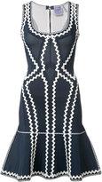 Herve Leger zig-zag print flared dress