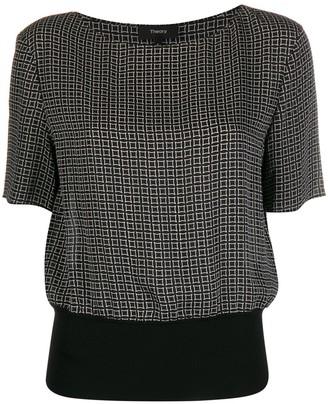 Theory Diamond Print Ribbed Waist blouse