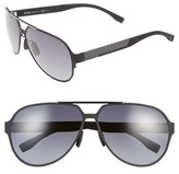 BOSS Men's 63Mm Aviator Sunglasses - Black Ruthenium/ Grey Gradient