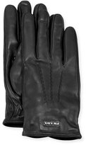 Prada Napa Leather Gloves w/ Logo, Black (Nero)