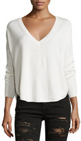 Alice + Olivia Bobbie V-Neck Round-Hem Sweater, Neutral